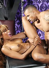 Gorgeous black tgirl Natassia Dreams is a stunning Grooby girl with a hot slim body, big boobs with pierced nipples, a firm butt and a delicious cock!