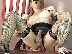 Horny transsexual MILF Jasmine Jewels riding on a fat dick