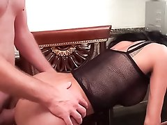 Big bareback dick for Ladyboy Pearwa in fishnet lingerie