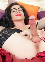Superstar Penny Tyler has a sexy body, a nice firm ass and a delicious large cock! Watch this sexy transgirl jacking off!