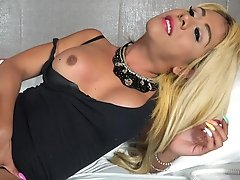 Mexican Tranny CUMMING A LOT after fingering her ass