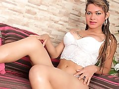 Watch the beautiful transsexual Tamara Sophia have some solo fun!