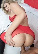 Red Lingerie Fisting and Ass Filled With Toys And Bareback Raw Fuck