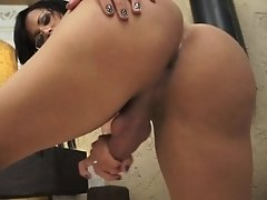Naughty Bruna spreads and jerks