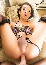 Thai Ladyboy Many - Black Bodysuit Cum Eating